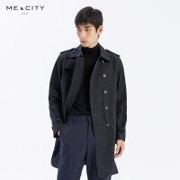 【1件4折到手价:367.6】MECITY男装秋季新款时尚中长款纯棉风衣男士休闲外套男