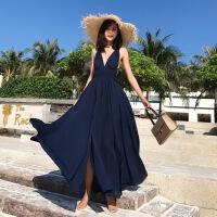 巴厘岛沙滩裙女夏2018新款海边度假连衣裙性感露背波西米亚长裙仙 图色