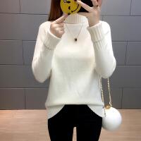 高领毛衣女加厚冬黄色保暖新款长袖套头针织衫韩版宽松打底衫