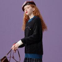 【1件3折到手价:77.7】美特斯邦威毛衣女甜美柔贴袋宽松学生慵懒风毛衫秋冬装新款潮