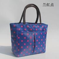 波点圆点 妈咪帆布防水布料女包袋多功能手提便当包零钱包 蓝色 双拉手提