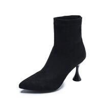 女靴子2018秋冬季新款弹力靴性感细跟尖头短筒短靴高跟马丁靴袜靴真皮