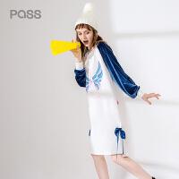 【茵曼旗下潮牌】pass2017新品秋装连衣裙女宽松撞色拼接袖子卡通印花套头裙潮牌