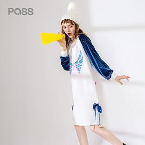 pass2017新品秋装连衣裙女宽松撞色拼接袖子卡通印花套头裙潮牌