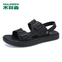 木林森凉鞋男夏季2019新款休闲皮凉鞋防滑男士