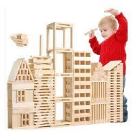 100片建筑棒 原木色积木 叠叠高多米诺 幼儿童木制玩具