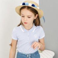 【2件1.5折价:23.9】米喜迪mecity童装女童短袖t恤夏针织polo