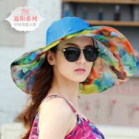 帽子女夏遮阳帽可折叠防晒沙滩帽紫外线海边出游大沿檐凉帽太阳帽 均码(送防风带)