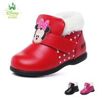 迪士尼Disney童鞋17冬季婴幼童宝宝鞋小皮靴子加绒保暖学步鞋 (0-4岁可选)  DH0200
