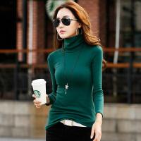 秋冬韩版高领女长袖打底衫紧身修身大码t恤女士百搭显瘦上衣小衫