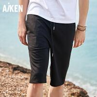 森马旗下Aiken爱肯2018夏季新款直筒黑街头宽松黑色男士弹力运动休闲中裤