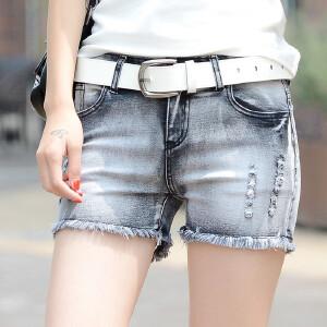 Freefeel新款夏季薄款中腰牛仔裤女短款破洞韩版弹力清新时尚学生热裤