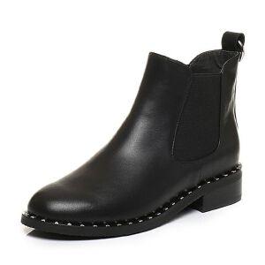 Tata/他她2017冬黑色牛皮拼接布铆钉套筒短靴女皮靴J1835DD7