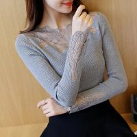 秋冬装新款2018针织衫女装打底衫长袖修身韩版蕾丝毛衣套头学生潮