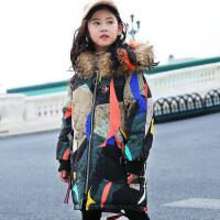 儿童羽绒服女童中长款加厚中大童印花童装2018新款韩版洋气反季潮 花色