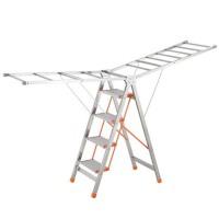 家用梯子折叠梯不锈钢晾衣架两用翼型晒衣架铝合金人字梯子