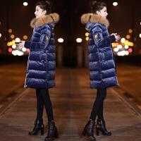 金丝绒女中长款冬装韩版大毛领羽绒棉袄加厚棉衣外套 蓝色 配真貉子毛领
