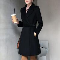 №【2019新款】冬天美女穿的职业装毛呢大衣女中长款加棉加厚工作服黑色呢子外套女修身工装冬