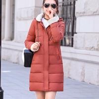 棉衣女中长款冬韩版修身可拆卸休闲加厚羽绒外套