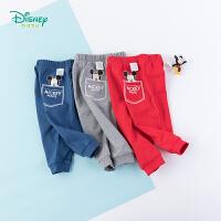 【129元3件】迪士尼Disney童装 男童纯棉休闲裤秋季新品米奇印花裤子简约儿童长裤 193K881