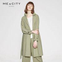 纯棉MECITY女装时尚收腰系带薄款中长款风衣外套