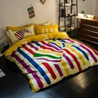 北欧简约炫酷全棉四件套纯棉床品套件床上用品4件套被套床笠床单 1.5m床笠款 被套200*230