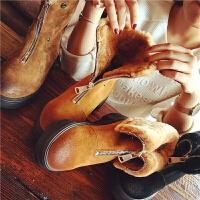 欧洲站冬季新款真皮羊毛马丁靴前拉链加绒短靴女靴英伦风学生女鞋