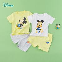 迪士尼Disney童装 宝宝米奇肩开短袖套装夏季新品男童舒适T恤短裤2件套192T909