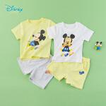 【秒杀价:44】迪士尼Disney童装 宝宝米奇肩开短袖套装夏季新品男童舒适T恤短裤2件套192T909