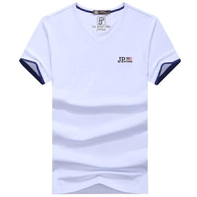90311吉普盾夏装薄款V领男士宽松大码休闲T恤衫 男polo衫短袖
