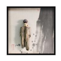 新中式禅意水墨装饰画 天然木头和尚创意手工艺术画书房装饰画 80*80 30mm厚板 独立