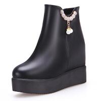2018秋冬新款女鞋内增高厚底短靴韩版坡跟马丁靴高跟女短靴棉鞋女