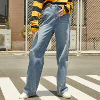 【1件2.5折到手价:133.8】美特斯邦威牛仔裤女秋季新款潮流泫雅宽松显瘦高腰阔腿裤长裤