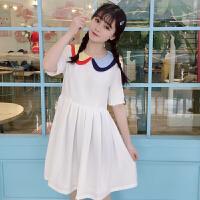 夏季新款连衣裙女娃娃领连衣裙学生韩版高腰小清新白裙子女2018