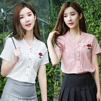 2018夏季韩范短袖衬衫女宽松显瘦小清新学生花朵刺绣百搭上衣