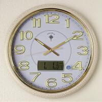 钟表时钟挂表日历现代大号卧室圆形石英钟静音夜光客厅挂钟 20英寸