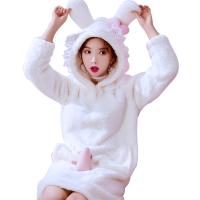 可爱连帽睡裙少女加厚法兰绒珊瑚绒学生加绒秋冬季长袖睡衣家居服