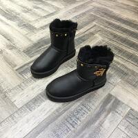 欧洲风格站2017冬季新看雪地靴铆钉羊皮毛一体保暖加厚短筒靴棉靴