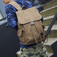 双肩包男女初高中大学生书包电脑休闲帆布旅行李包背包桶