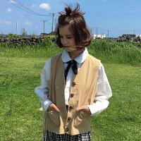 秋装韩版女复古纯色气质百搭工装背心单排扣口袋马甲学生上衣外套