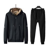 秋冬季加绒卫衣男连帽韩版潮流运动休闲套装两件套加厚款男士外套