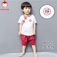 男童中国风夏季棉麻幼童套装宝宝唐装1-3岁儿童汉服女童短袖童装2