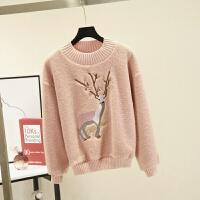 韩版小鹿刺绣羊羔毛卫衣女冬季外套宽松加绒加厚套头上衣