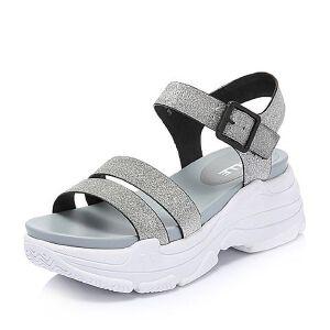 Belle/百丽2018夏新专柜同款亮片人造革厚底松糕运动风女凉鞋BOL37BL8