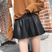 皮短裤女秋冬季新款黑色PU外穿宽松高腰显瘦A字阔腿休闲裤子