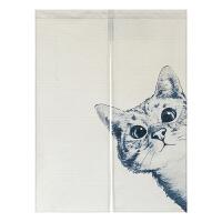 家居生活用品黑白猫简约布艺门帘厨房半帘玄关风水帘卫生间隔断帘卧室装饰挂帘
