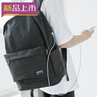 2018新款大容量男式背包可充电帆布双肩包大学生书包简约青少年电脑包 黑色