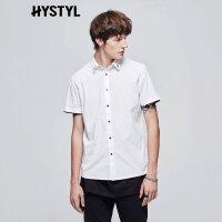 【2件2.5折到手价:21.25】美特斯邦威短袖衬衫男夏装新款单排扣纯色衬衣225253