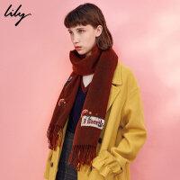 Lily2017冬新款女装时髦OL刺绣全羊毛围巾流苏围巾117430AZ826