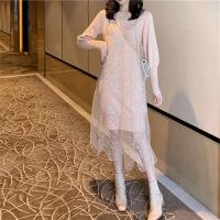 春秋网纱粉色针织套装秋冬抖音仙女裙子chic温柔很仙的连衣裙新款